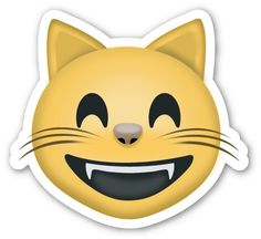 Grinning Cat Face with Smiling Eyes | EmojiStickers.com