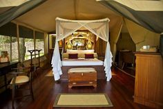 Feast your eyes on this beautiful #glamping getaway! These #tents are stunning and oh so #romantic. #Travel #Kenya @heritagekenya