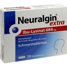 NEURALGIN extra Ibuprofen Lysinat Tabletten gegen Schmerzen:   Packungsinhalt: 20 St Filmtabletten PZN: 09042974 Hersteller: Dr.R.PFLEGER…