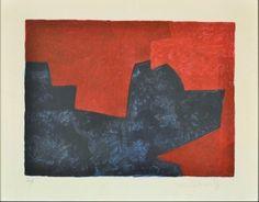 Lithographie - Serge Poliakoff - Composition lie-de-vin et bleue