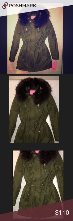 FLASH SALE Olive/Multi Color Winter Coat 60% Cotton, 40% Polyester Button closure Dry Clean Only Faux fur spill out/faux fur trim hood Adjustable drawstring at waist• Fur inside ALL SALES ARE FINAL WHEN ON A FLASH SALE. Betsey Johnson Jackets & Coats