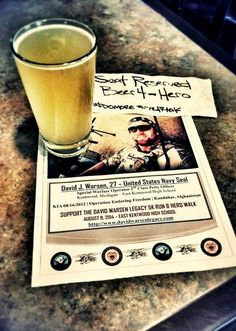 Until Close of Business this Evening. United States Navy Seal, David Warsen will have a cold mug, full beer & a front/center bar seat reserved at a host of pubs across Grand Rapids, Michigan.  On 8/16/2012, at the age of 27, 2nd Class Petty Officer Warsen (Kentwood, Michigan) gave his life valiantly defending our great Nation. Killed in Action in the Kandahar Province of Afghanistan, along with 10 fellow Navy Seals.  Although gone, REAL Heroes such as yourself will never be forgotten.