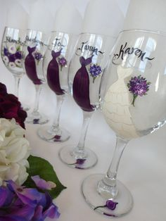 Hand Painted Personalized Bridal Party Wine Glasses- Set of 5 - GIFT WRAPPING AVAILABLE