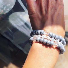 Detail of Boho Bracelets! Sissi, Period, Polymer Clay, Beaded Bracelets, Jewels, Boho, Gray, Detail, Handmade