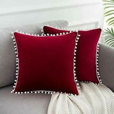 WLNUI Soft Velvet Mother's Day Burgundy Pillow Covers Decorative Cute Pom Poms Throw Pillow Covers Square Cushion Case for Sofa Couch Home Decor Inches Diy Pillow Covers, Decorative Pillow Covers, Bed Covers, Bed Cover Design, Cushion Cover Designs, Sewing Pillows, Diy Pillows, Throw Pillows, Handmade Cushions