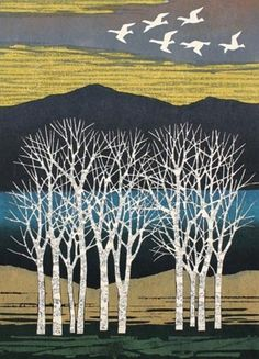 Fumio Fujita (Japanese, b. 1933) White Trees and Birds Color woodblock, 1977.