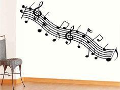 Sticker perete Portativ cu note muzicale
