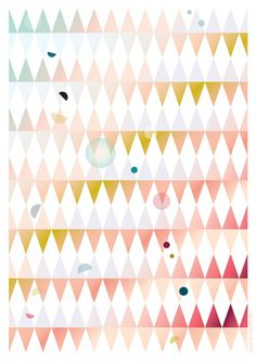 DOTS AND TRIANGLES poster A3 | PINK. by margo slingerland