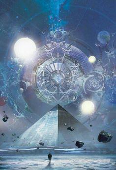 "panzertron: ""Stephan Martiniere's cover art for the Tor translated edition of Liu Cixin's The Three-Body Problem "" Fantasy Places, Sci Fi Fantasy, Fantasy World, Arte Black, Science Fiction Art, Visionary Art, Sci Fi Art, Fantasy Artwork, Sacred Geometry"