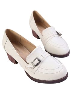 White Vintage British Style Thick Heel Shoes