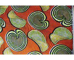 Tissu africain wax - 6368 orange au mètre