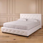 Dhp Dakota Upholstered Faux Leather Platform Bed with Wooden Slat Support and Tufted Headboard and Footboard, White - Queen White Platform Bed, Leather Platform Bed, Platform Beds, Leather Sofas, Queen Platform Bed Frame, Queen Size Platform Bed, White Headboard, White Bedding, White Bedframe