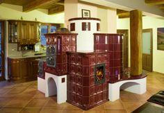 Kemencék: Beautiful Hungarian Home Furnaces Home Furnace, Stair Shelves, Cast Iron Stove, Stove Oven, Heating Systems, All Modern, Home Furniture, Building A House, Buddha