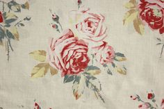 Brilliant Faded cabbage roses printed cotton from France ~ wonderful shabby chic vintage fabric ~ www.textiletrunk.com