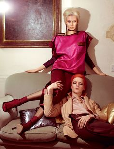 the man who fell to earth | Britt wears top, skirt, earrings and shoes Louis Vuitton. Top (worn underneath) The Contemporary Wardrobe. Tights Jonathan Aston. Socks Tabio. Jeanette wears shirt The Contemporary Wardrobe. Jacket Cerruti. Pants Maison Martin Margiela.