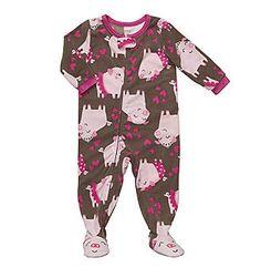 Carter's® Girls' 12M-4T Pig Print Fleece Sleeper - Pink/Brown