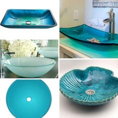 Sea Inspired Blue Bathroom Sinks.... http://www.completely-coastal.com/2017/06/coastal-bathroom-sink.html Make a stunning sink the focal point of your bathroom or powder room!