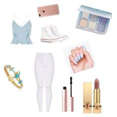 """""""Baby blue"""" by gisselleotero on Polyvore featuring River Island, Converse, Too Faced Cosmetics, Yves Saint Laurent, Anastasia Beverly Hills and Belkin"""