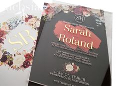 Created this etched in rich tones of and with gold vinyl accents for the cover and accompanying pocket. Loving working with at the moment! Acrylic Wedding Invitations, Wedding Invitation Design, Wedding Stationery, Stationery Design, Blush Pink, Our Wedding, Custom Design, Reception, Burgundy