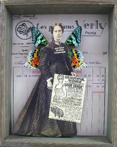 Stephanie-Rubiano-collage-using-antique-photographs-real-butterfly-wings-old-print-media-and-receipts
