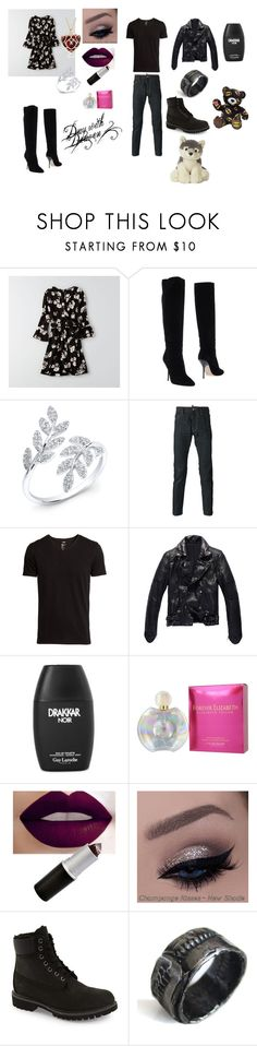 """""""Day out with Draven"""" by gsusan on Polyvore featuring American Eagle Outfitters, Jimmy Choo, Dsquared2, H&M, Elizabeth Taylor, Timberland, Catherine Marche, women's clothing, women's fashion and women"""