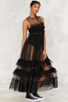 Nasty Gal I'll Take That Net Ruffle Dress - Black - Clothes | Best Sellers | Midi + Maxi | Dresses | All Party