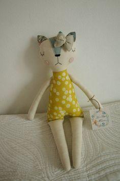 Cat Handmade Doll, stuffed toy, plush cat, stuffed animal, cloth doll, Doll Fabric cat , Linen Dolls,decorative toy, baby gift,girl gift