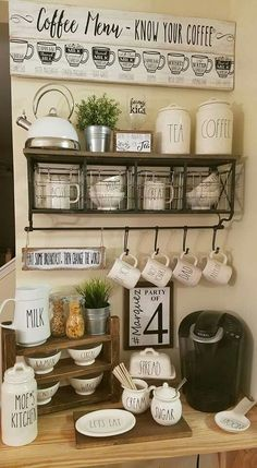 31 Genius Coffee Station Ideas for All Coffee Lovers You Can Try at Home - Coffee Bar Coffee Area, Coffee Nook, Coffee Bar Home, Home Coffee Stations, Coffee Wine, Iced Coffee, Coffee Drinks, Home Bar Sets, Bar Set Up