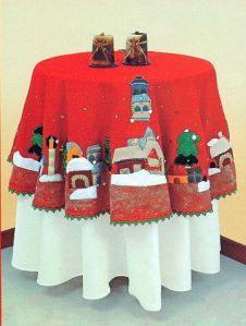 mantel pueblito navideño en paño lency 70 bs