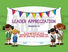 Girl Scouts Leader Appreciation Certificate
