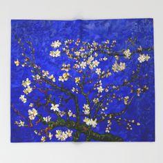 Van gogh Digital Abstract Daisy blue background Throw Blanket #ThrowBlanket #Throw #Blanket #bedroom #abstract #vangogh #paintings #starrynight #starry #night #abstractpainting #pattern #popart #blue #bluedaisy