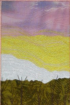 Fabric Postcard, Sunset Quilted Fabric Postcard, Home and Living. $10.00, via Etsy.