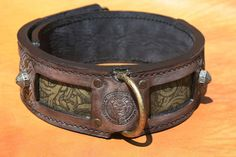 Antique brown and green leather dog collar, made by Workshop SAURI