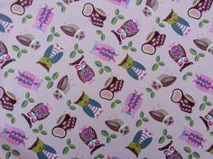Pink small Owls cotton print fabric woodland by TheFabricShopUK