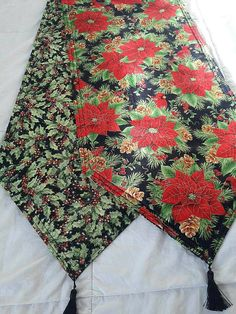 Poinsettia Holiday Themed Reversible Table Runner 72x14 Handmade and Padded