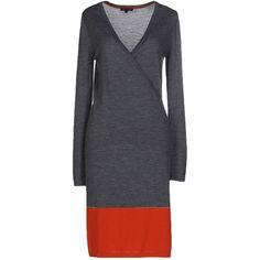 Tommy Hilfiger Knee-length Dress ($160) ❤ liked on Polyvore featuring dresses, grey, longsleeve dress, gray dress, wool dress, tommy hilfiger and tommy hilfiger dresses