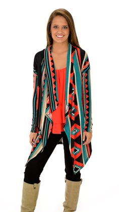 Another long aztec cardi. We just can't get enough! $78 at shopbluedoor.com