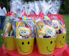 These would be good idea for kids 2013 birthday party for favors..except the smiley buckets!
