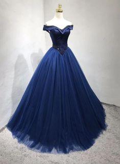 Princess A Line Off the Shoulder Navy Blue Long Prom/Evening Dress – shinydress Blue Evening Dresses, Prom Dresses Blue, Ball Dresses, Pretty Dresses, Beautiful Dresses, Ball Gowns, Formal Dresses, Long Navy Blue Dress, Junior Prom Dresses