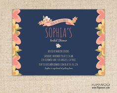 Floral Bridal or Baby Shower Invitation Design by FLIPAWOO  - Customized Printable File