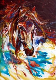 Abstract horse painting.