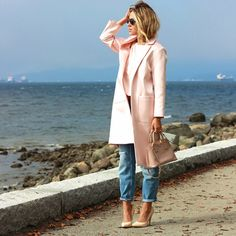 -light pink coat -boyfriend jeans -nude heels