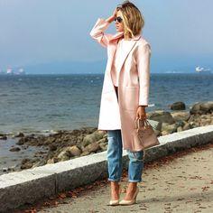 -light pink coat -boyfriend jeans -nude heels
