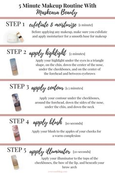 An easy step-by-step guide on a 5 minute makeup routine with Maskcara Beauty! IIID Foundation, cream foundation, illuminator, blush, contour, highlight, exfoliate, moisturize. Milk moisturizer Maskcara Beauty Tips Tutorial  Hac  Color Match