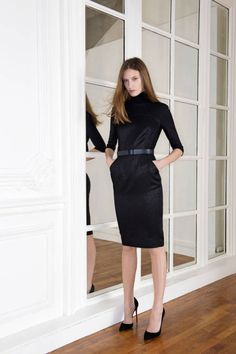 Plain & fancy black turtle top, pencil skirt/Martin Grant Fall 2014 Ready-to-Wear Runway - Martin Grant Ready-to-Wear Collection