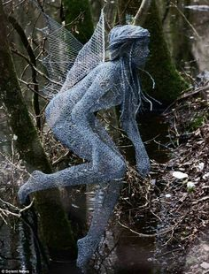 Chicken wire fairy, wire sculpture by Derek Kinzett