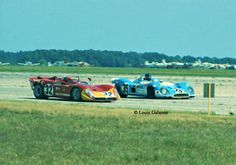 Alfa vs Matra at Sebring 1970  The Rolf Stommelen-Nanni Galli Alfa Romeo T33/3 racing side by side with the Dan Gurney-Francois Cevert Matra MS650 at Sebring 1970. The 3-liter V8 Alfa came in 9th and the Matra finished 12th. That is the legendary Dan Gurney driving the 3-liter V12 Matra. The photo was taken on the back airport straight on the old Sebring 5.2 mile course.