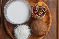 Homemade coconut ice cream recipe made with coconut milk, cream, sugar, fresh grated coconut, and dark rum. Served with roasted coconut shavings. Homemade Coconut Ice Cream, Coconut Milk, Pineapple Coconut, Ron, Ice Cream Recipes, Mango, Fruit, Passion, Manga