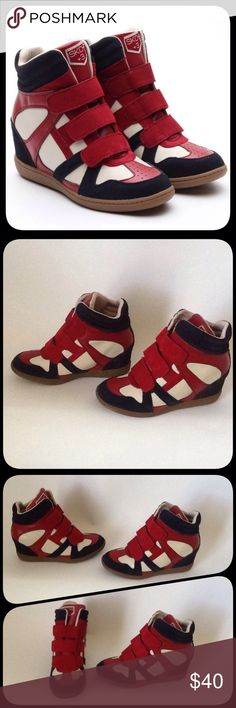 Skechers Navy/Red +3 Raise The Bar Wedge Sneakers The shoes have Never been worn!!! They don't come with a Box!!! Reasonable Offers Only!!! Skechers Shoes Sneakers