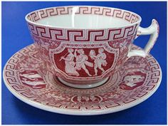 Vintage Copeland  Spode Greek Red Cups And Saucers